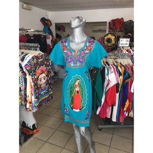 Our Lady of Guadalupe Dress Turquoise Plus Size